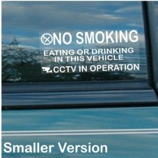 2 x Car Window Stickers-100x50mm-No Smoking,Eating,Drinking,CCTV In Operation-Van,Lorry,Warning Sign